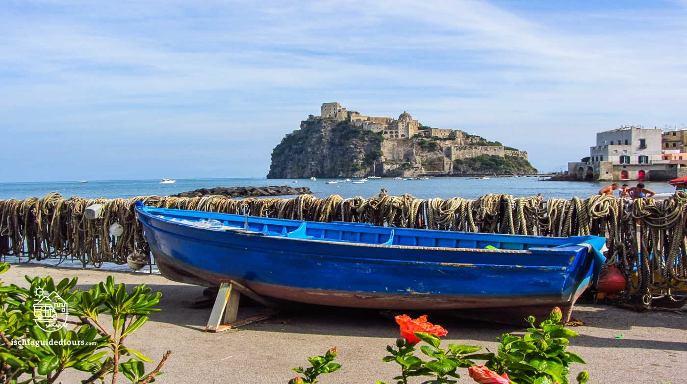 Ischia Ponte and the castle Aragonese, Ischia island, fishing village in Italy, Campania, Capri, Procida, Amalfi coast, fishing boats, guided tours in Ischia, to do in Ischia