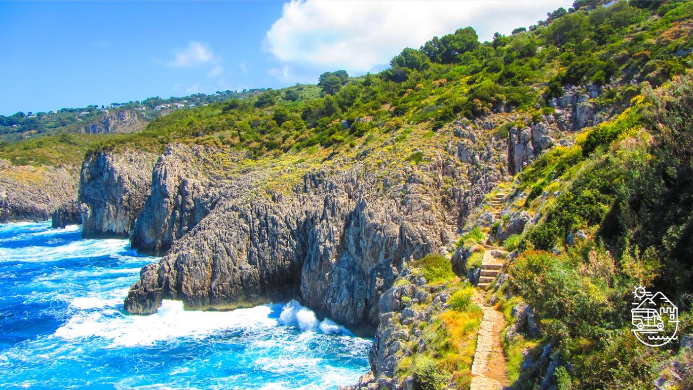 The path of the old forts or Fortini walk in Capri, Villa Malaparte in Capri, Chairlift to Mount Solaro in Anacapri, Capri, Axel Munthe's Villa San Michele in Anacapri, Punta Carena lighthouse, Capri, Capri island, Arco Naturale, Capri, Anacapri, Ischia, Italy, Blue Grotto, Faraglioni, Mediterranean, Axel Munthe, guided tours of Capri, Italian islands, Amalfi coast, guided tours of Ischia, tour of Capri, Bourbon forts, Monte Solaro, chairlift in Capri, Punta Tragara, trekking in Capri