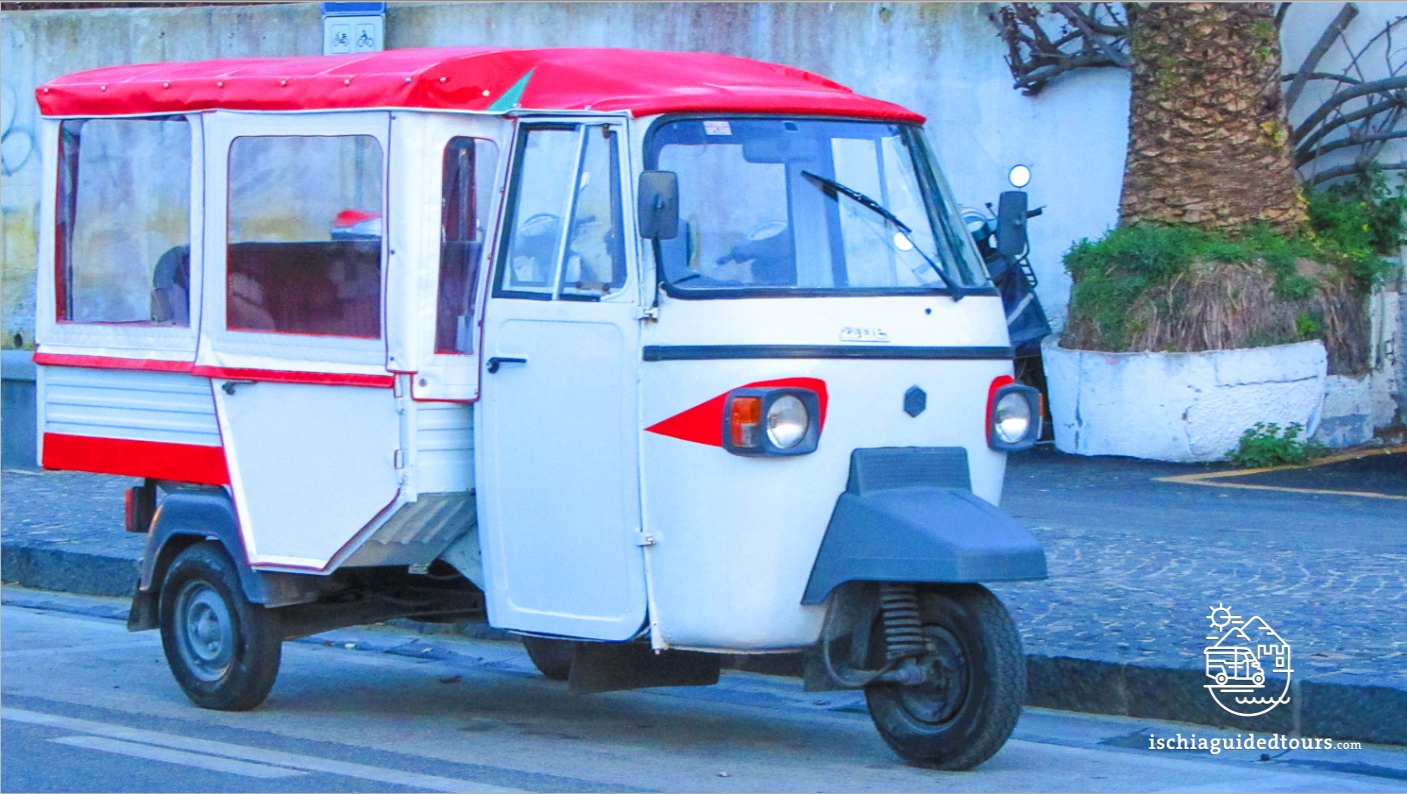 Tuk tuk in Ischia, Apecar in Ischia, microtaxi in Ischia, piaggio tuk tuk, three-wheeler taxi, three wheelers, Ischia taxi, Ischia Ape, Ischia three wheeler, Ischia typical taxi, Capri, analfi coast, calessino, Fiat, Ischia tours, Ischia excursions, Ischia guided tours, Ischia thermal spas