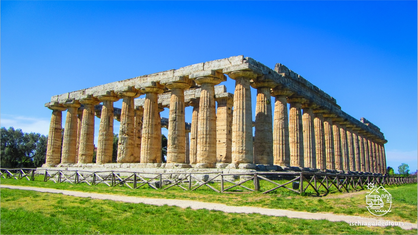 Paestum Greek temples, Cilento, Campania, amalfi coast, Sorrento, Positano, Ischia, Capri, Procida, Greek art, Temple of ceres, Temple of Neptune, temple of Hera, archaeology, Italia, Magna Graecia, Poseidonia, Naples, Cilento park, Sele, buffalo mozzarella, Tour of Paestum, guided tour of Ischia, Tomb of the diver, Vannulo mozzarella factory, from Ischia to Paestum, Pithecusae, Greek colonies in Italy, Greek classical style, Poseidonia temples in Italy