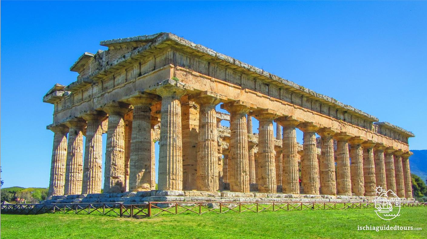 Paestum Greek temples, Cilento, Campania, amalfi coast, Sorrento, Positano, Ischia, Capri, Procida, Greek art, Temple of ceres, Temple of Neptune, temple of Hera, archaeology, Italia, Magna Graecia, Poseidonia, Naples, Cilento park, Sele, buffalo mozzarella, Tour of Paestum, guided tour of Ischia, Tomb of the diver, Vannulo mozzarella factory, from Ischia to Paestum, Pithecusae, Greek colonies in Italy, Greek classical style, Poseidonia temples in Italy, Salerno
