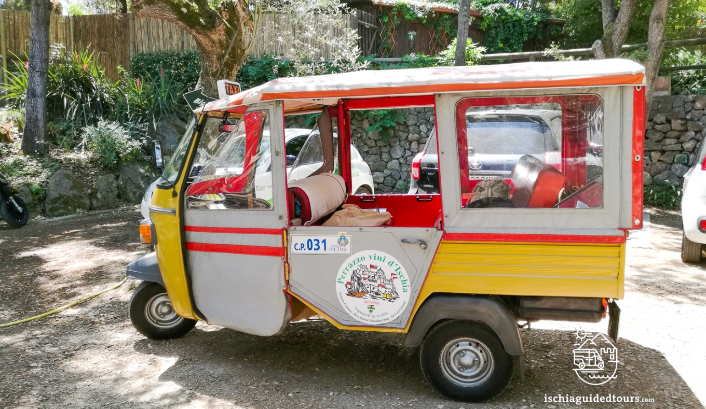 Tuk tuk in Ischia, Apecar in Ischia, microtaxi in Ischia, piaggio tuk tuk, three-wheeler taxi, three wheelers, Ischia taxi, Ischia Ape, Ischia three wheeler, Ischia typical taxi, Capri, amalfi coast, calessino, Fiat, calessino ride, calessino tour in Ischia, Apecar tours, Tuk tuk in Ischia, Tuk Tuk in Procida, Sorrento calessino ride