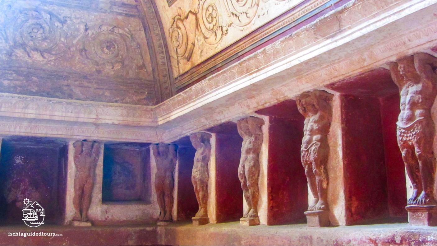 Pompeii, Forum baths, tepidarium, Roman spa, Atlas, archaeology, Mount Vesuvius, Roman art, eruption, 79 ad, Amalfi coast, Sorrento, Italian art, Pompeii ruins, Pompeii tours, guided tours Pompeii, volcano, Naples, Igor Mitoraj